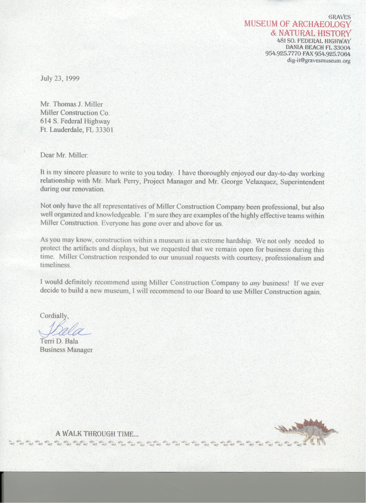 graves museum reference letter