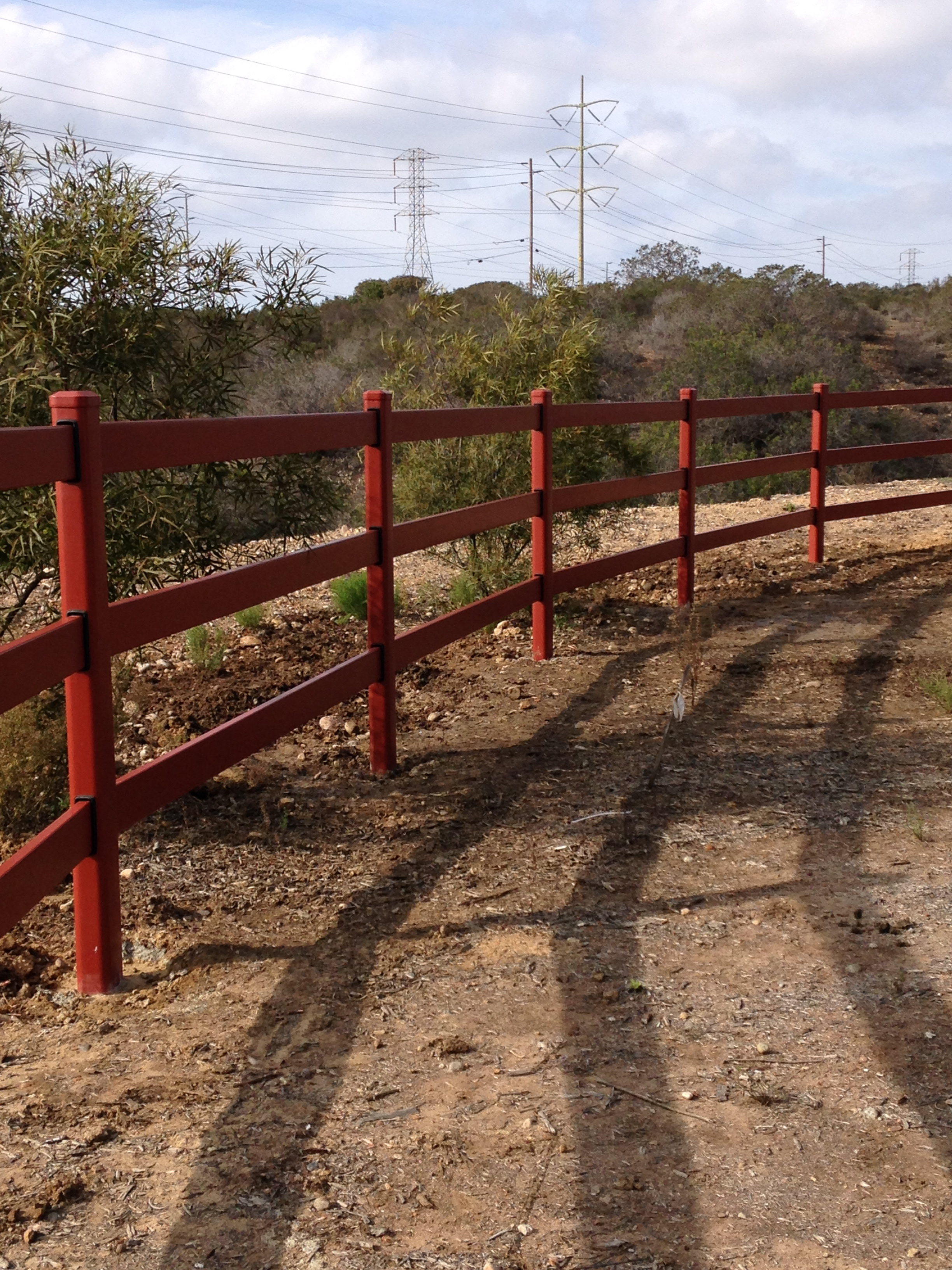 5'FT HIGH 3-RAIL STEEL RANCH RAIL AT MIRAMAR NAVAL BASE CEMETERY - GB's Fence Company