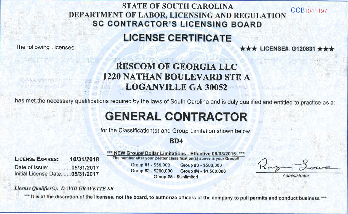 Rescom General Contractors Licenses Insurance Bonding
