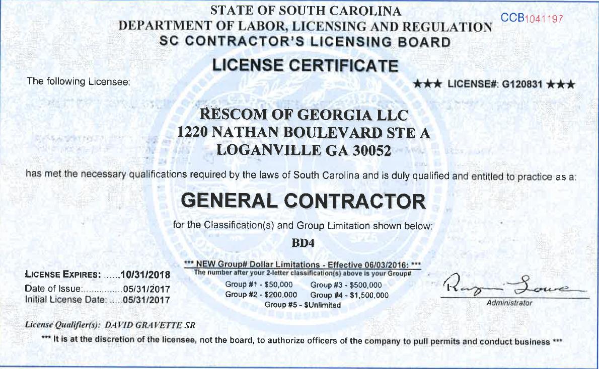 Rescom General Contractors Licenses Insurance Bonding
