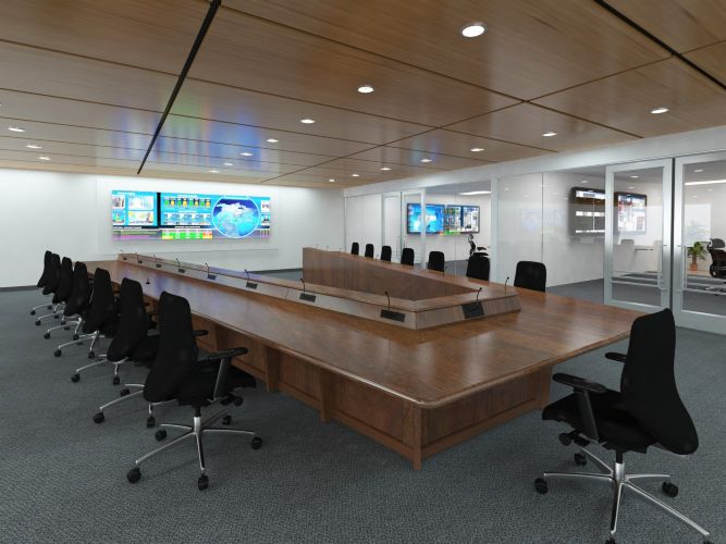 V Shaped Conference Room Table In Texas Office By In ProView - V shaped conference table