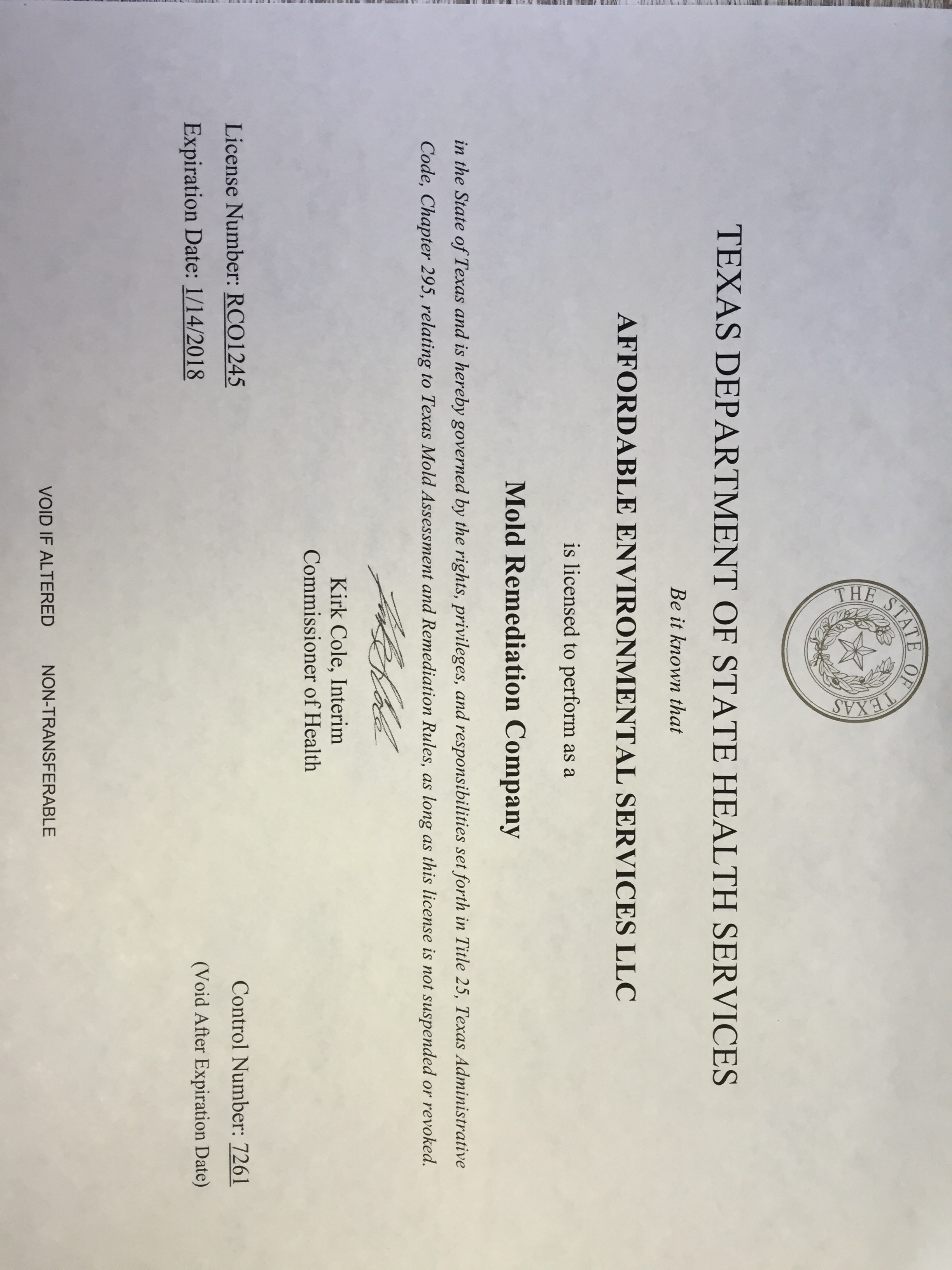 Affordable Environmental Services Llc Licenses Insurance