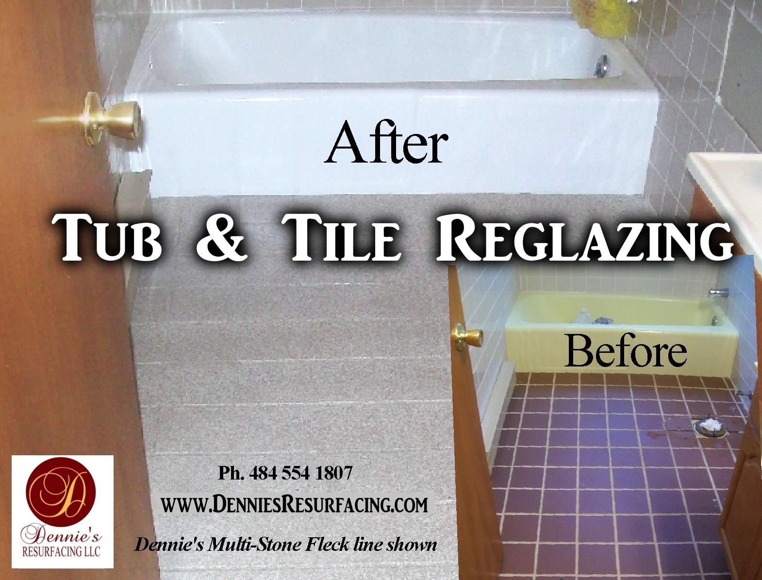 Tub Floor Tile Refinishing Reglazing Before After