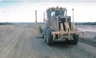 Fine Grading New Runway, Cat 14 Grader with Trimble GPS,Charlotte, North Carolina