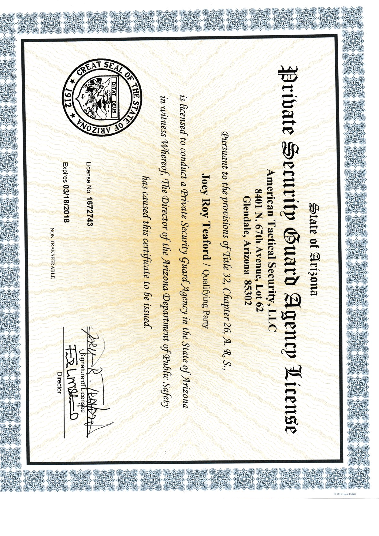 American tactical security llc licenses insurance bonding our certifications not provided request our insurance coverage 1betcityfo Images