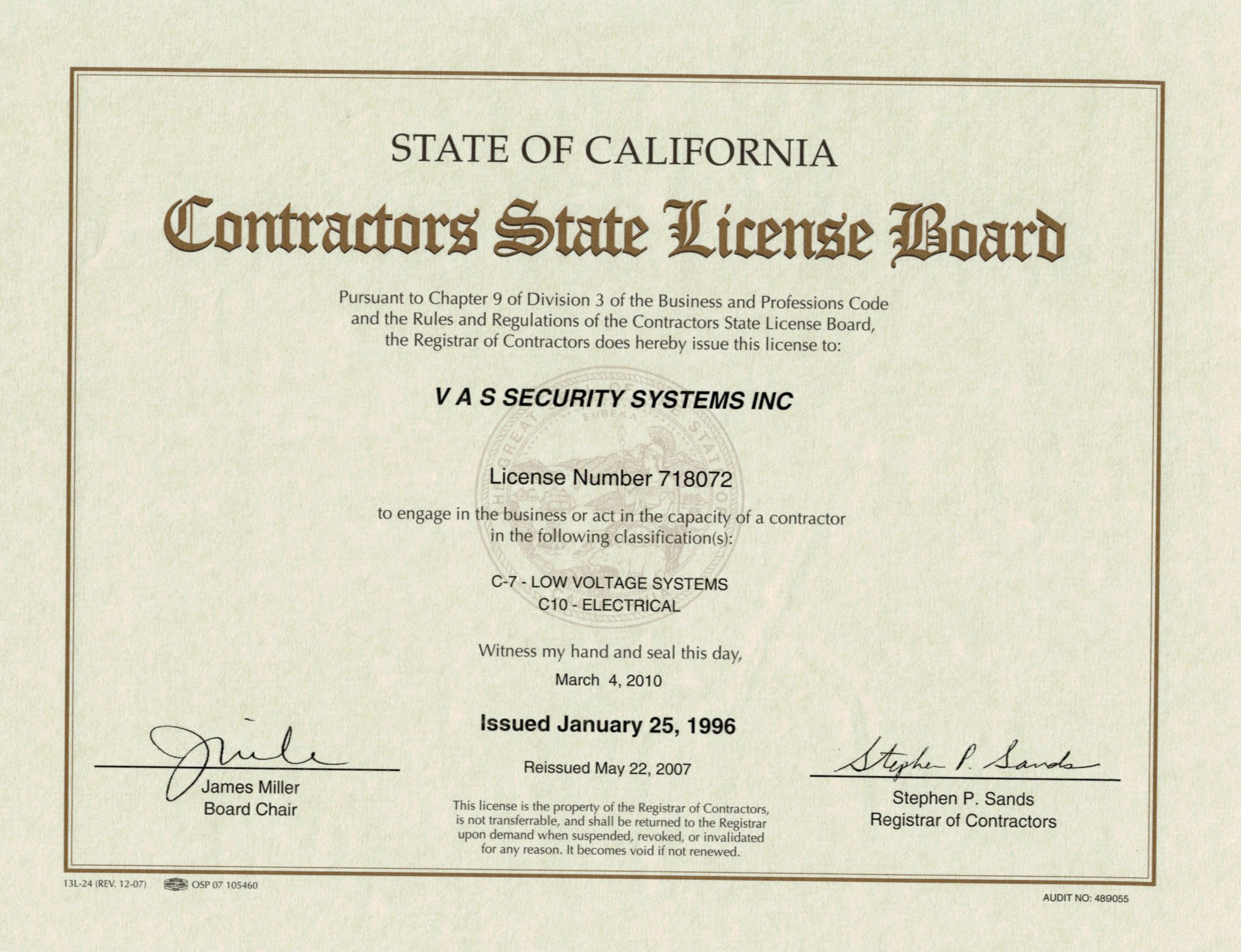 Edgeworth Security Llc Dba Vas Security Systems Inc Licenses