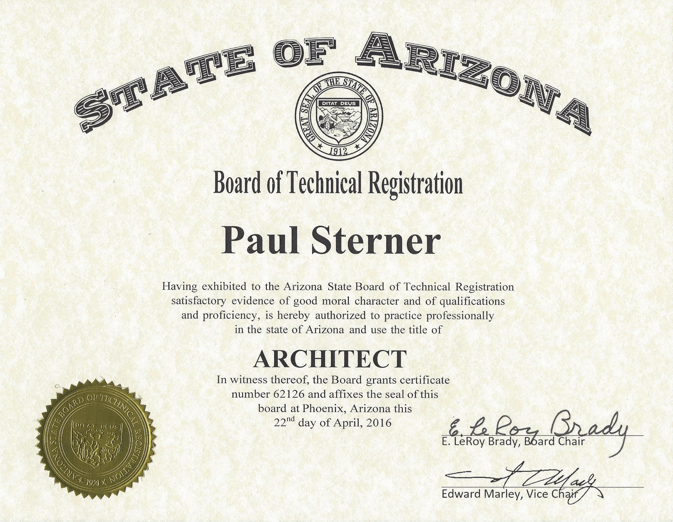 Oculus architects licenses insurance bonding certifications registered architect arizona certification 1betcityfo Images