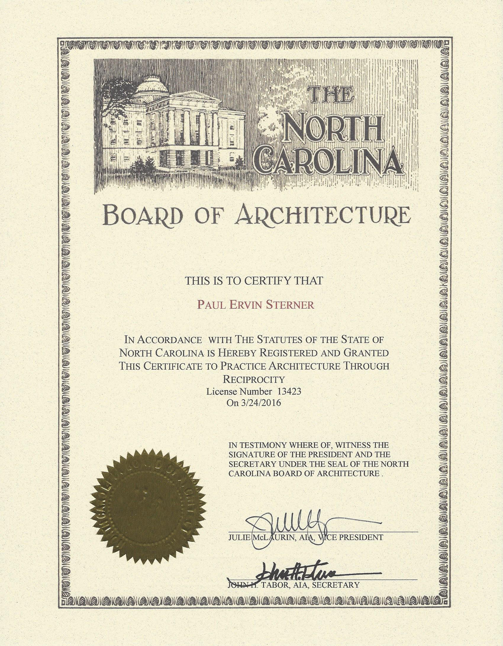 Oculus architects licenses insurance bonding certifications registered architect north carolina certification xflitez Image collections