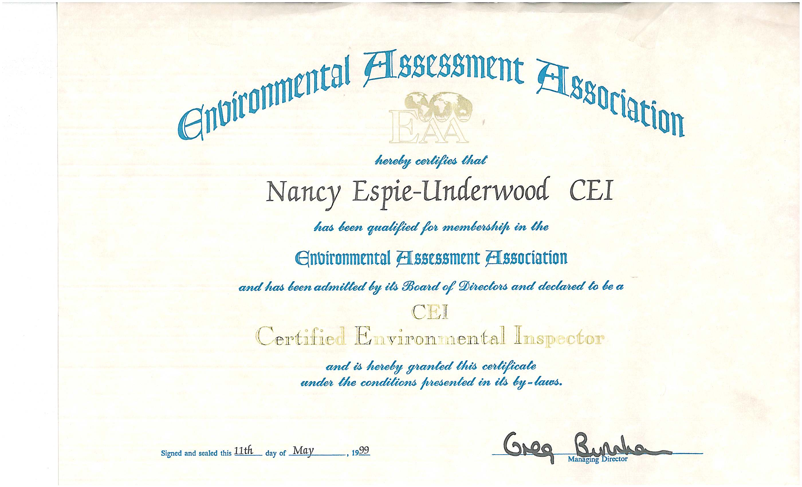 Uge ecs inc licenses insurance bonding certifications certified environmental inspector certification 1betcityfo Images