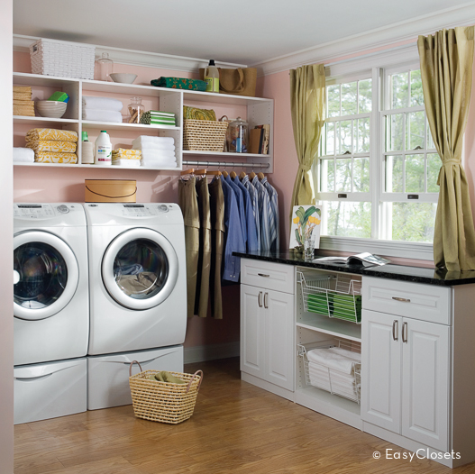 White Laundry Room With Custom Sideboard