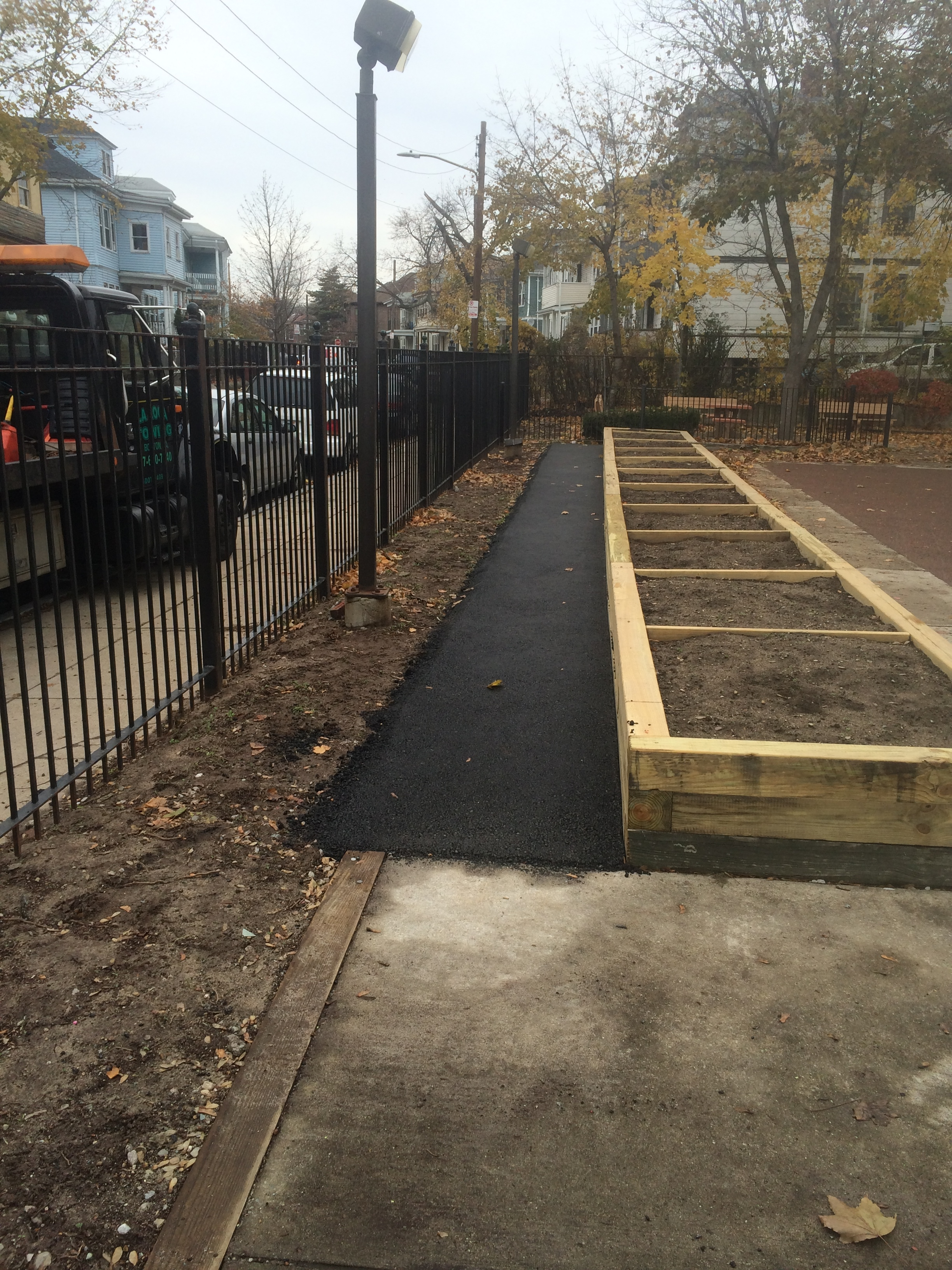 Planters and Walkway