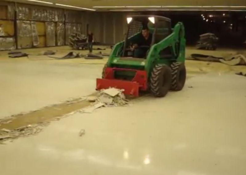 Blast It All Floor Tile Removal With A Skid Steer Scraper
