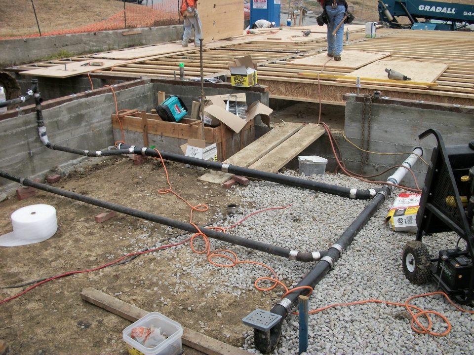 Plumbing works in construction