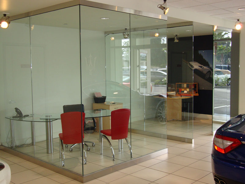 Herculite panels for offices - Orange Mirror and Glass