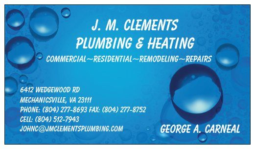 JHC Corp Trading as J M  Clements Plumbing - Mechanicsville