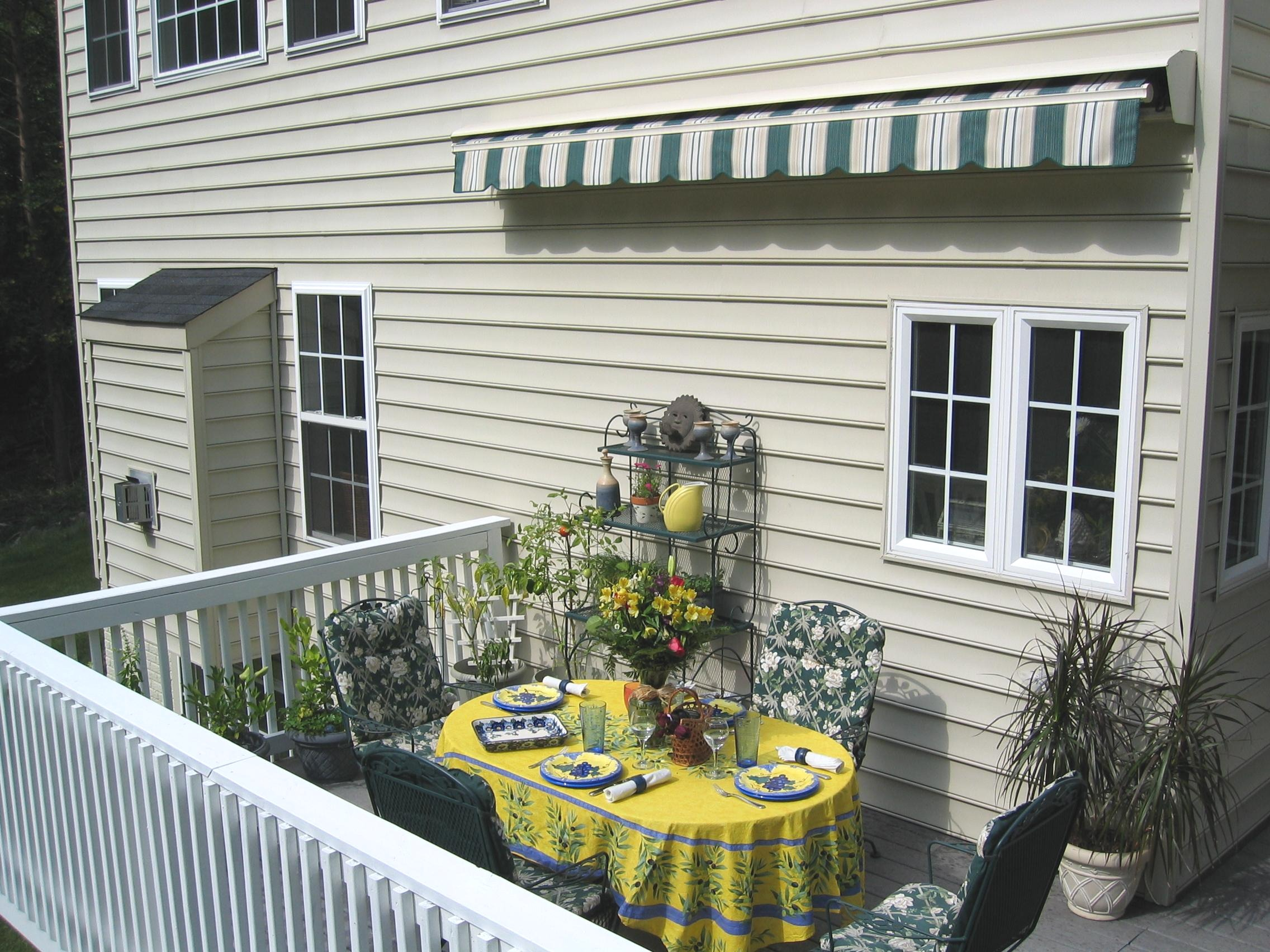 patio county decks chester and stationary glass remodeling deck installation awnings with milanese awning for railing