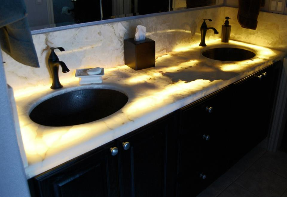 Under Lit White Onyx Master Vanity With Copper Sinks