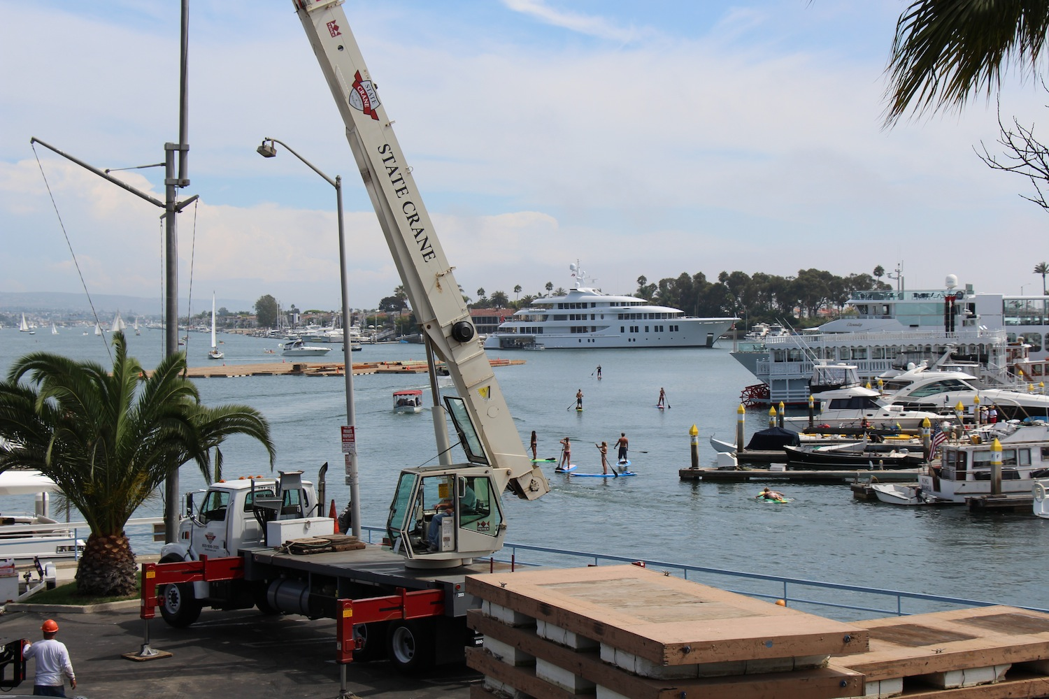 Newport Beach Boat Show Set-up - State Crane