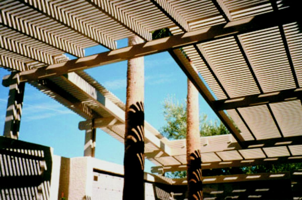 Sun City Awning - Gabled Aluminum Lattice Roof Image | ProView