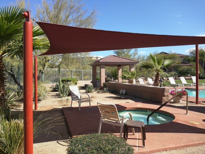 Sail awnings for patio - Shade Sails At Outdoor Dining Area Shade Sail Over Pool Area