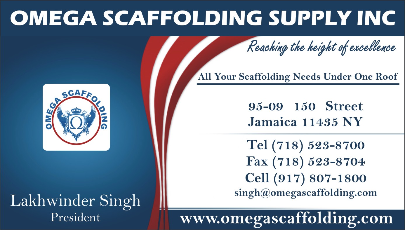 Omega Scaffolding Supply Inc Business Card Image Proview