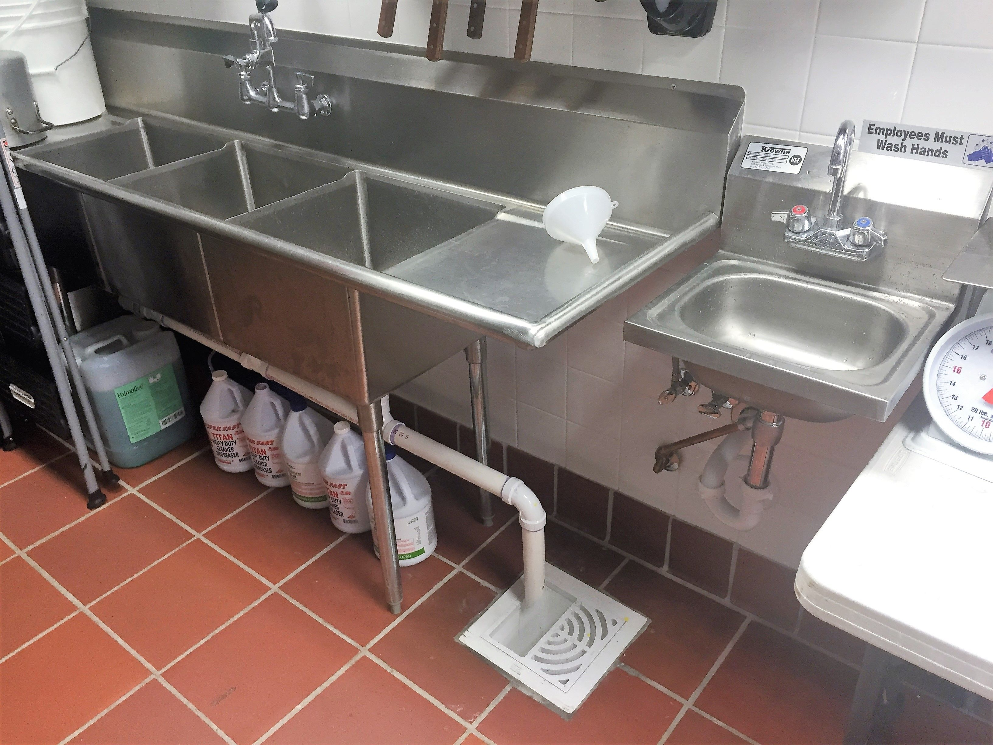 3 Compartment Sink Drain.Miami Plumbing Services 3 Compartment Sink Image Proview