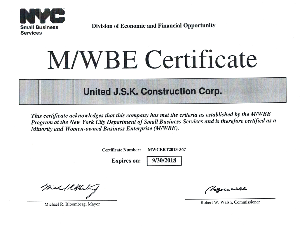 United Jsk Construction Corp Licenses Insurance Bonding