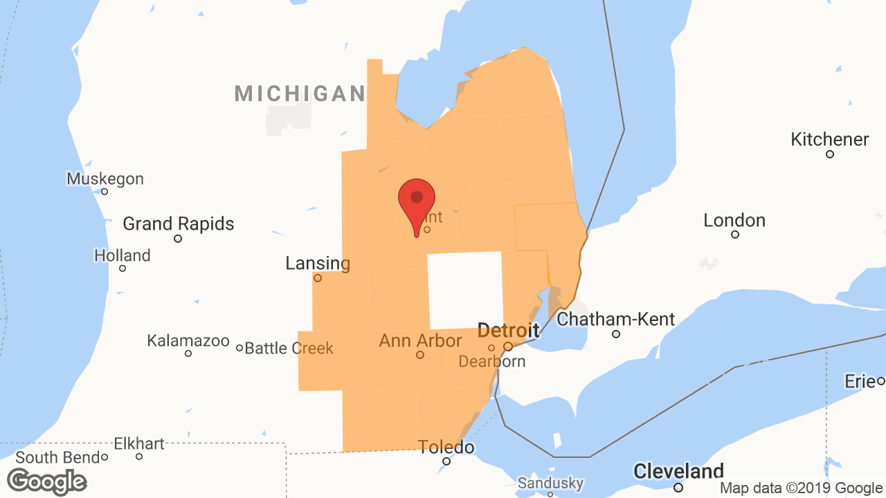 Service Area and Locations Map for Flint Glass Service LLC