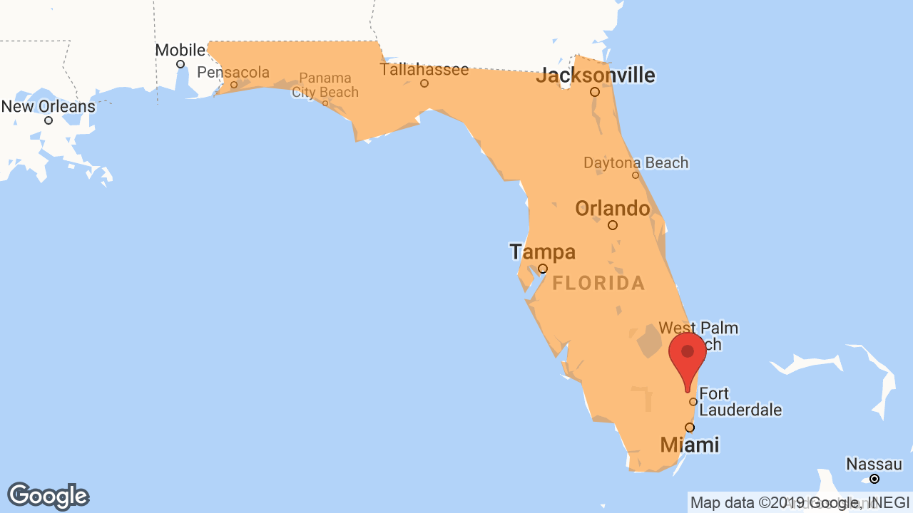 Service Area and Locations Map for Florida Fire & Electrical Protection