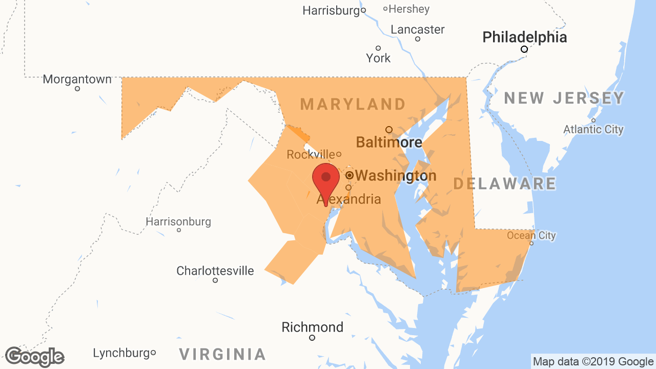 Service Area and Locations Map for VA Window Cleaning