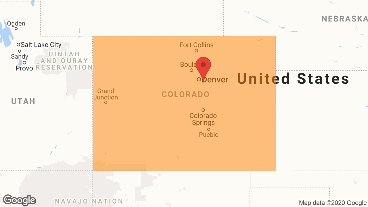 Service Area and Locations Map for Window Doctor of Colorado