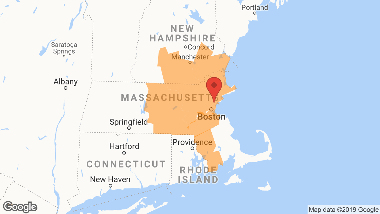 Service Area and Locations Map for Boston Insulation Group, LLC