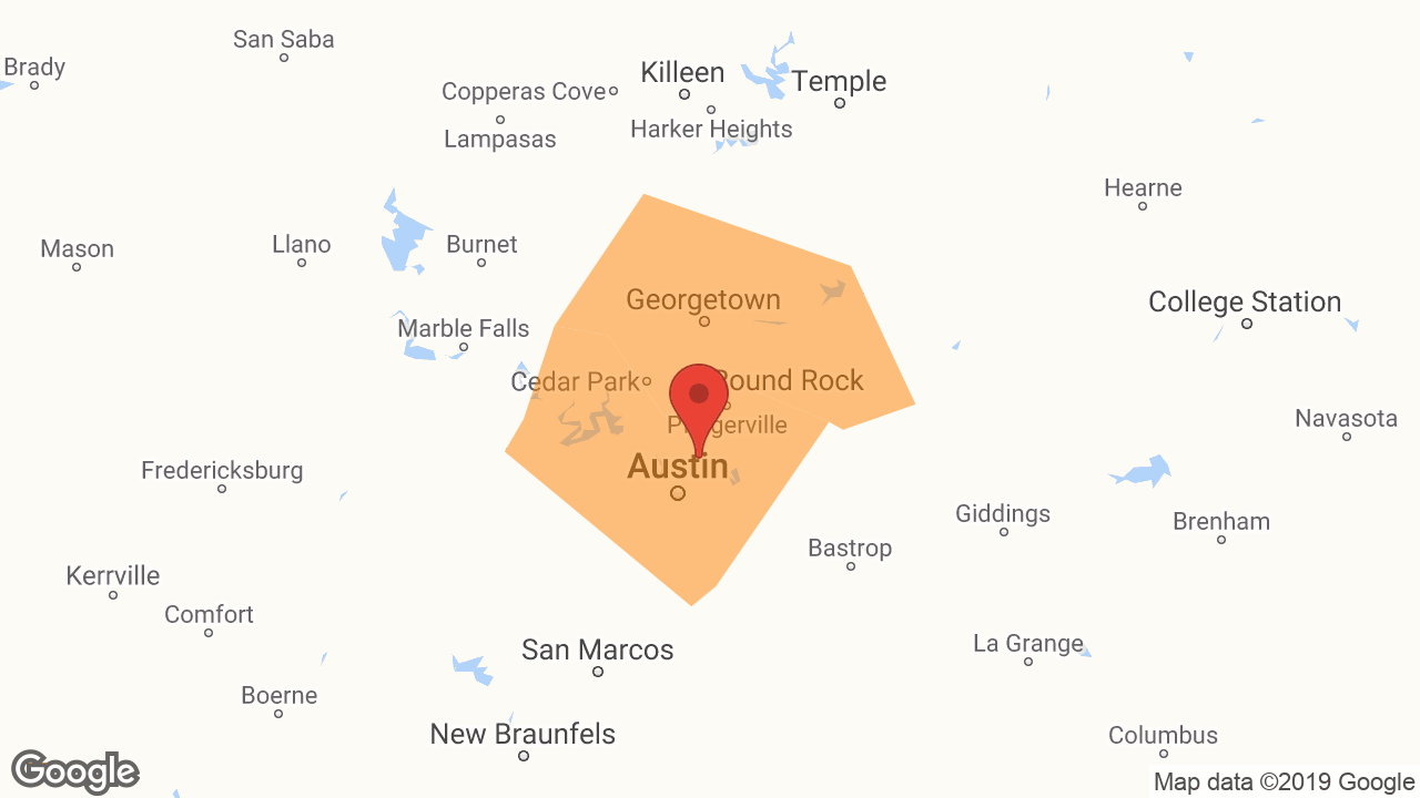 Service Area and Locations Map for Austin Hi-Tech Restoration, Inc.