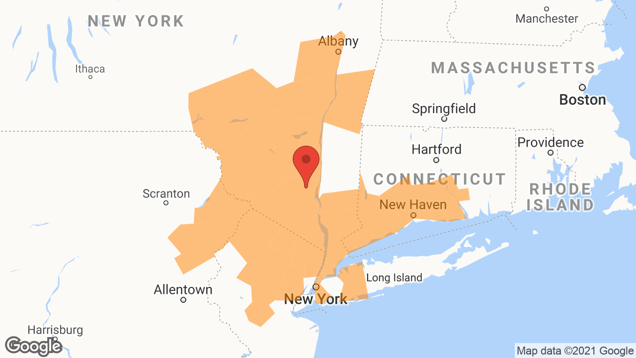 Service Area and Locations Map for Hudson River Contracting Corp.