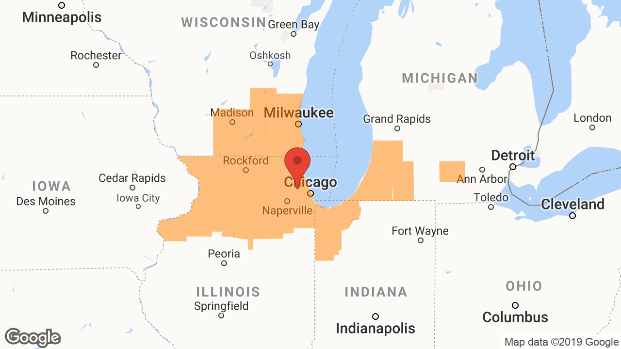 Service Area and Locations Map for Safeguard Waterproofing & RamJack Illinois