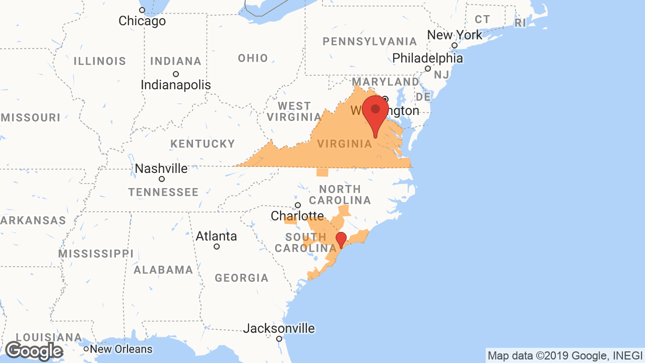 Service Area and Locations Map for Architectural Hardware of VA