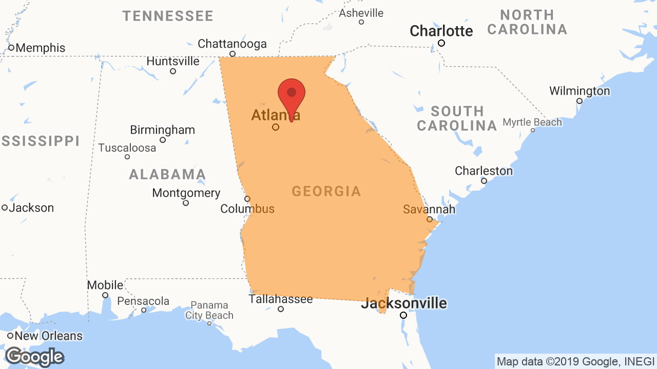 Service Area and Locations Map for GA Temp-Control LLC