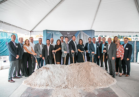 Stiles Construction's project team gathers at the groundbreaking event for The Main Las Olas, a 1.4 million-square-foot, mixed-use office, residential and retail community in the heart of Fort Lauderdale, FL.