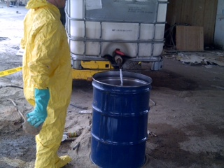 Repackaging of Hazardous liquids for disposal - Alternative Disposal, Inc.