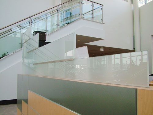 Glass Stair Rail & Frosted Partition  - 306 Glass & Design, Inc.