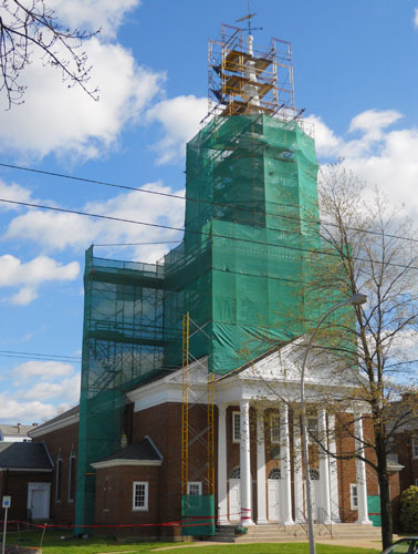 Church Steeple Scaffolding with Mesh - New England Scaffolding