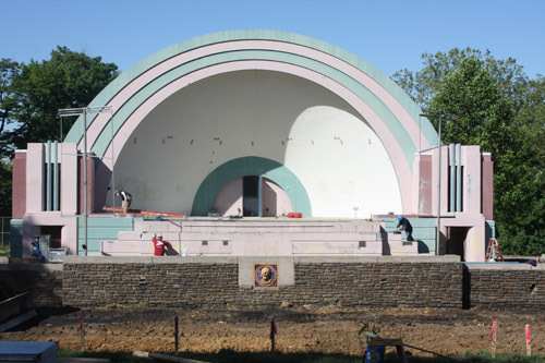 Volunteer Fireman's Memorial Bandshell: Before  - Jamison Masonry Restoration, LLC