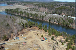 Preparing to Cross the River Four Separate Times  - Henniker Directional Drilling LLC