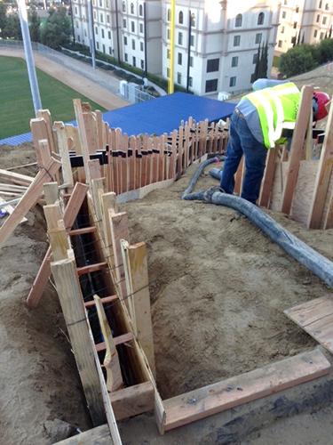 U.S.D. at the new Ron Fowler Baseball Stadium.  - San Diego Concrete Pumping, Inc.
