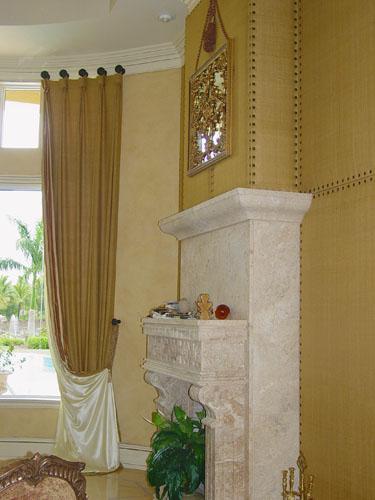 Custom Upholstered Wall & Custom Drapery