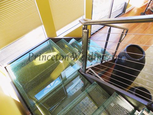Steel Staircase with Glass Treads and Cable Railing (Residential) - Princeton Welding, Inc.