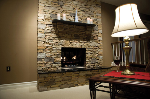 West Mountain Ledge & West Mountain Fieldstone - Thin Stone veneer fireplace  - Pinnacle Stone Products - Pinnacle Stone Products, LLC - Parkesburg, Pennsylvania ProView