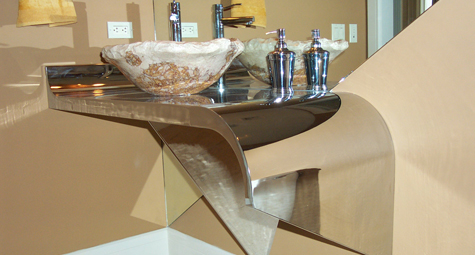 Chrome Vanity & Stone Basin with Wood Panel