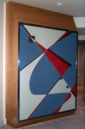 Wall Bed (closed) - Wood Panel with Leather  - Edsart LLC