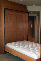 Wall Bed (open) - Wood Panel with Leather